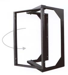 swing-out swing out computer network equipment rack wall mount quest manufacturing