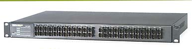 24 Port 100FX Ethernet Fiber Switch connects workstations and servers using fiber optic cable.