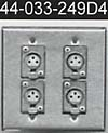 4x3p female connector on double gang stainless steel plate