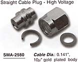 straight cable plug, high voltage direct solder, semi rigid cable connector