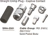 straight crimp plug, captive contact connector