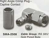 right angle crimp plug, captive contact connector